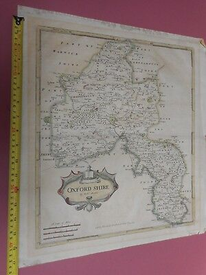100% Original Large Oxfordshire Map By Robert Morden C1722 Low Post