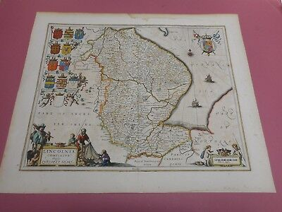 100% Original Large Lincolnshire Map By Jansson C1646 Hand Coloured