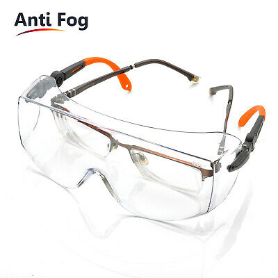 SAFEYEAR Safety Goggles Over Glasses Neck Cord Anti-fog Clear Lens Large Size