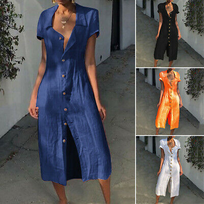 Women Summer Casual Beach Holiday Button Down Cotton Linen Long Maxi Shirt Dress