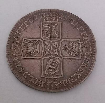 1745 LIMA Silver Half Crown Coin Very Fine King George II