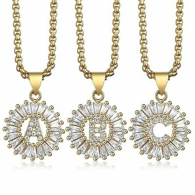 Womens Gold Filled Crystal Initial Letter Pendant Necklace Chain A-Z Alphabet