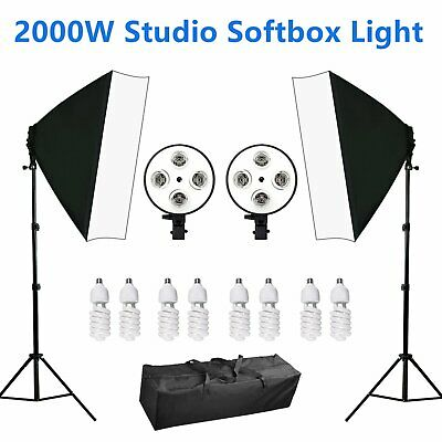 Photo Studio Softbox Lighting Video 4 Head Soft Box Continuous Light Stand Kit