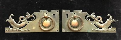 Superb Pair Of Arts & Crafts Copper Furniture Escutcheons With Stylised Dolphins