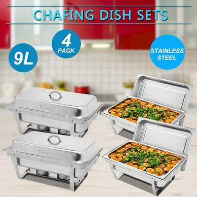 4 PACK CATERING STAINLESS STEEL CHAFER CHAFING DISH SETS 8 QT for Christmas