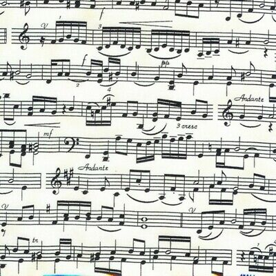 100% Cotton Fabric Timeless Treasures Sheet Music Musical Notes