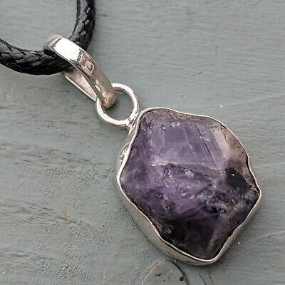 925 Sterling Silver Natural Unpolished Amethyst Rough Pendant chakra High Energy