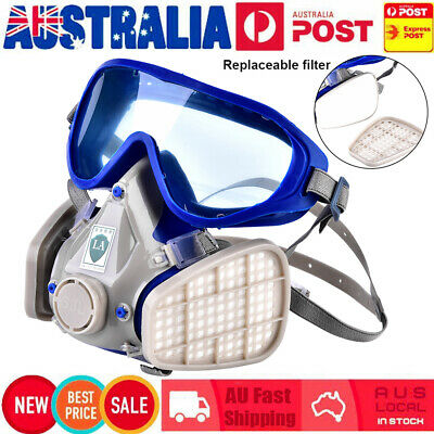 Full Face Respirator Gas Mask & Goggles Chemical Dust Double Filter Breathing