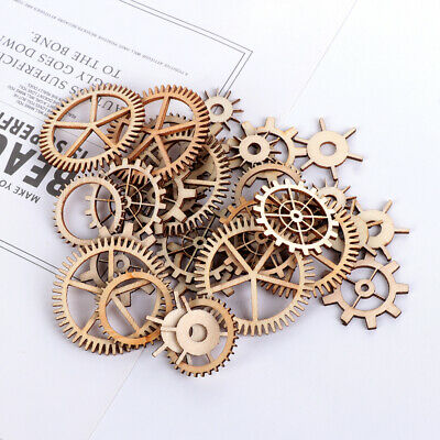 Mixed Steam Punk Round Hollow Scrapbooking Wooden Craft Wheel Gear Pattern