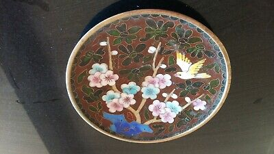 Cloisonne Brass & Enamel Plate with Birds & Blossoms