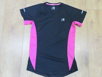 Karrimor Pretty Black & Pink Fitness Sporty Running Top Uk 10 Reflective Strips