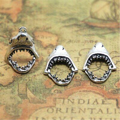 4pcs 18X29mm Antique Silver Movable Shark Mouth Charms Pendant, Connector