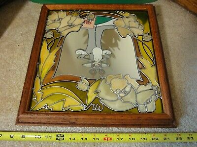 Rare! Vintage Largasa Lee, Mirrorage by Ren War stained glass floral mirror.