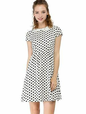38ad994b690626 Allegra K Women's Peter Pan Collar Above Knee Contrast Polka Dot Dress