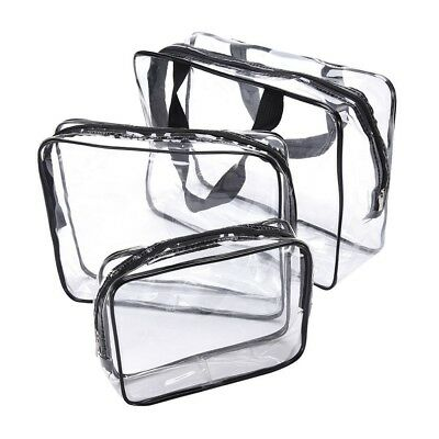 3pcs set Waterproof Clear Cosmetic Toiletry PVC Travel Wash Makeup Bag Pouch UK