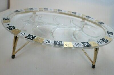 Inland Glass Platter Atomic Starburst Meat Serving Stand Candle Warming 60s
