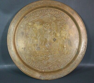 Antique Egyptian Revival Cairoware Pharaoh Brass Plate Charger serving Tray Dish