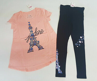 NWT Justice Girls Outfit Peek a Boo Pocket Tee//Leggings Size 6  7 12