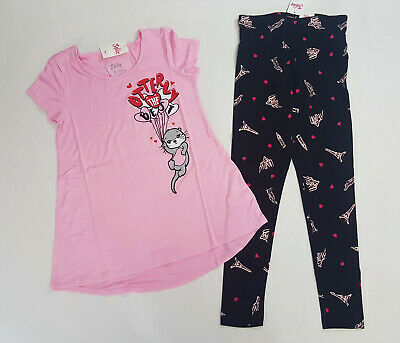 NWT Justice Kids Girls Size 6/7 8 or 10 Pink Otter Love Top & Heart Leggings