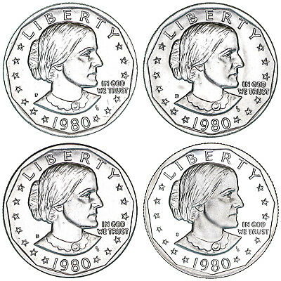 1980 P D S S Susan B Anthony Dollar Year Set Proof & BU US 4 Coin Lot