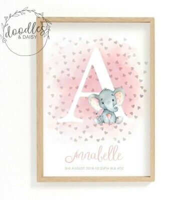 Personalised Elephant New Baby Birth Print Christening Gift Nursery Wall Art