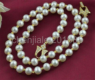 New 9-10mm White cultured Freshwater pearl necklace 14k filled gold ball 22""
