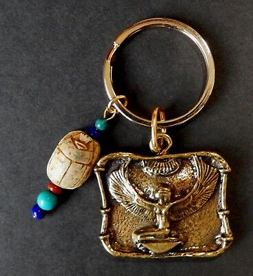 Isis in Frame-   Key Chain with  Vintage Scarab and Gen. Beads  /  Gold Tone