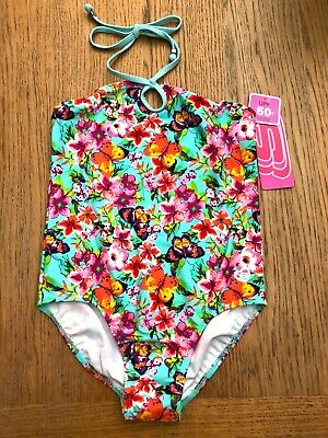 Girls SKECHERS Floral & Butterfly Print Swimsuit Ages 4-10 NWT