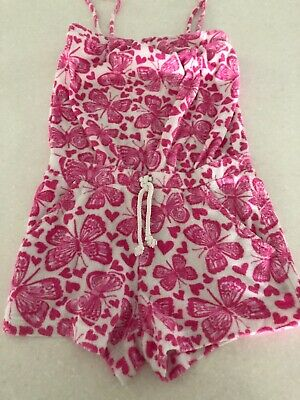 Girls Pink Towelling Beach Playsuit By Monsoon Age 5-6 Years