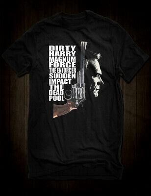 New Black Clint Eastwood Dirty Harry Callahan T-Shirt Dead Pool Magnum Force Tee