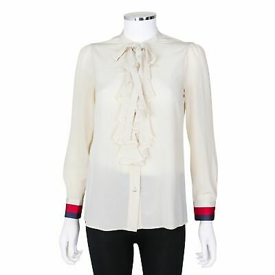 98c1d76b Gucci Ivory Silk Blouse with Ruffle and Faux Pearl Detail - Size 36