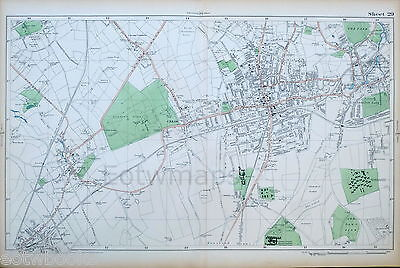 LONDON - Antique Map / Street Plan - SUTTON, CHEAM,  EWELL - BACON, 1910