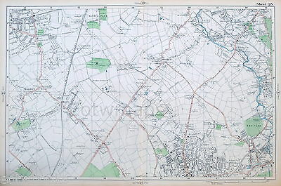 LONDON - MALDEN, MORDEN, SUTTON, MITCHAM - Antique Map / Street Plan ,BACON 1910