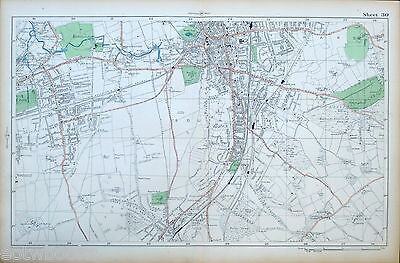 LONDON - Antique Map / Street Plan - WALLINGTON, PURLEY, CROYDON - BACON, 1910