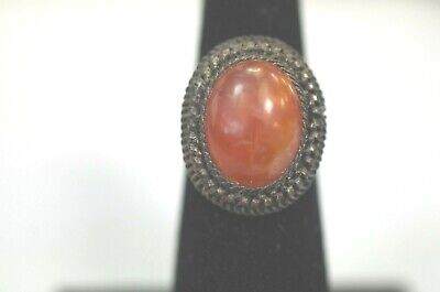 Antique Chinese Silver Tone Carnlian Agate Ring