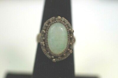 Antique Chinese Silver Tone Jade Ring