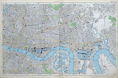 LONDON, 1904 - THE CITY, EAST END & THE DOCKS - Bacon, Original Antique Map.