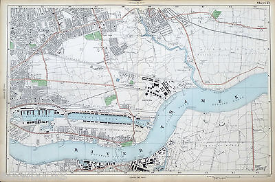 LONDON - Antique Map / Street Plan, EAST HAM, WOOLWICH & THE DOCKS - BACON, 1910