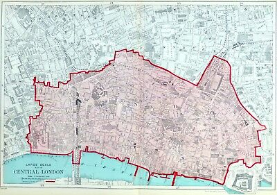 THE CITY OF LONDON , 1919 - Original Antique Map.