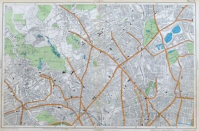 LONDON, 1912 - HIGHGATE, ISLINGTON, KENTISH TOWN, HAMPSTEAD Original Antique Map