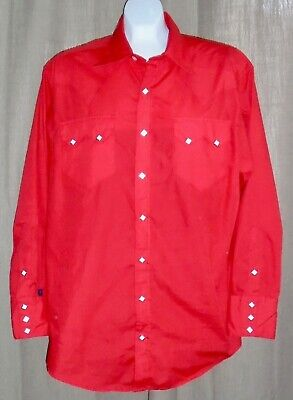 2fb89a16 Rockmount Ranch Wear Men's Size 17 X 33.5 Made In Usa Diamond Pearl Snap  Shirt