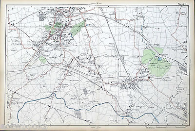 LONDON - Antique Map / Street Plan, HARROW, SUDBURY, WEMBLEY  - BACON, 1910.