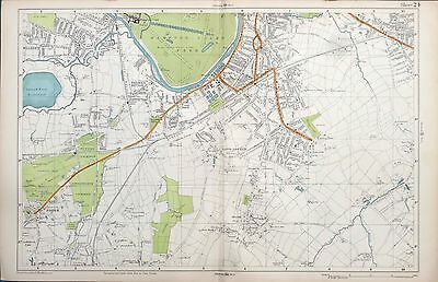 LONDON, 1924 - SURBITON, ESHER, THAMES DITTON, Original Street Map / Plan, Bacon