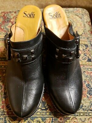 Sofft Black Leather Clogs Size 9.5 With Great Buckle Detail Comfort Shoes Women's Shoes