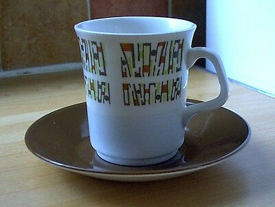 J&G MEAKIN 'BAGATELLE' CUP & SAUCER, Retro, vintage, mid century, shabby chic