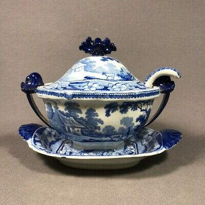 Early 19th Century Blue Staffordshire Pearlware Pottery Tureen