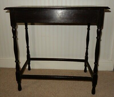 Vintage Oak Side End Hall Console Table with Turned Supports