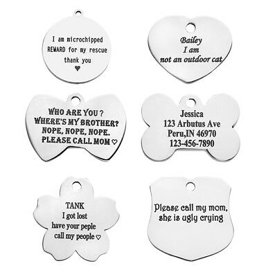 Personalized Engraved Stainless Steel Dog Tags Name ID Phone Puppy Pet Collar