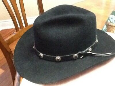 7a382873892c8 vintage STETSON Piny Express Wool Cowboy Hat + Leather   Silver Stud Band 7 -3