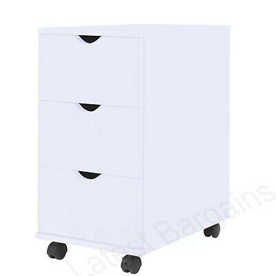 White Office Storage Cabinet Cupboard 3 Drawers Home Study Wheels Rolling